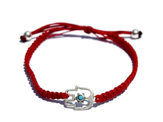 Red String Bracelet, Silver Hamsa, Star of David accent