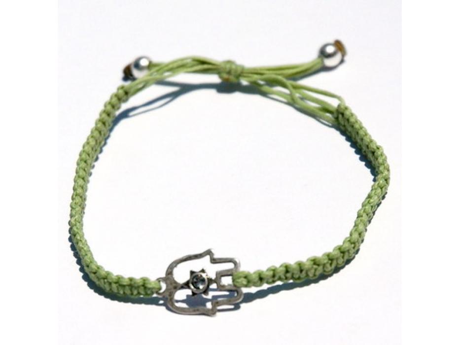 Green String Bracelet, Kabbalah pendant