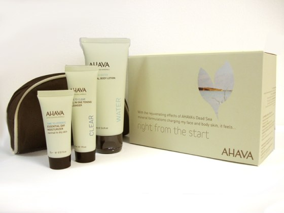 AHAVA Starter Kit - Zippered bag, trial size body and face care product