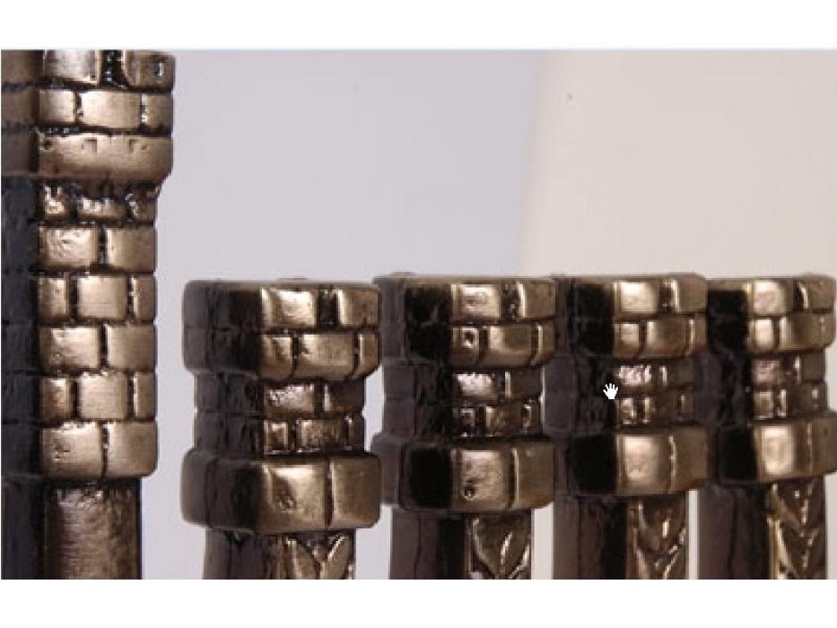 Alim Studio Classical Hanukkah Menorah, Stone wall desgin