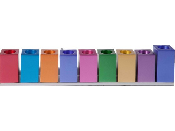 Aluminum Hanukkah Menorah Colorful Cubes Design, by Yair Emanuel