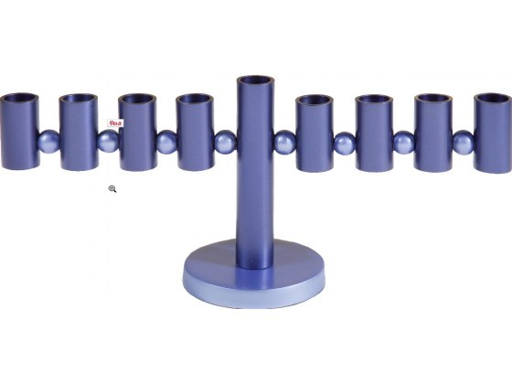 Aluminum Menorah Blue Cylinders Design by Yair Emanuel