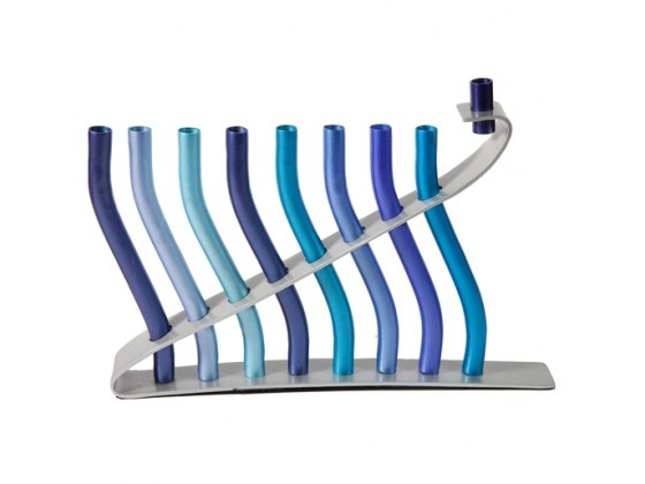 Aluminum Menorah Blue Wave Design by Yair Emanuel