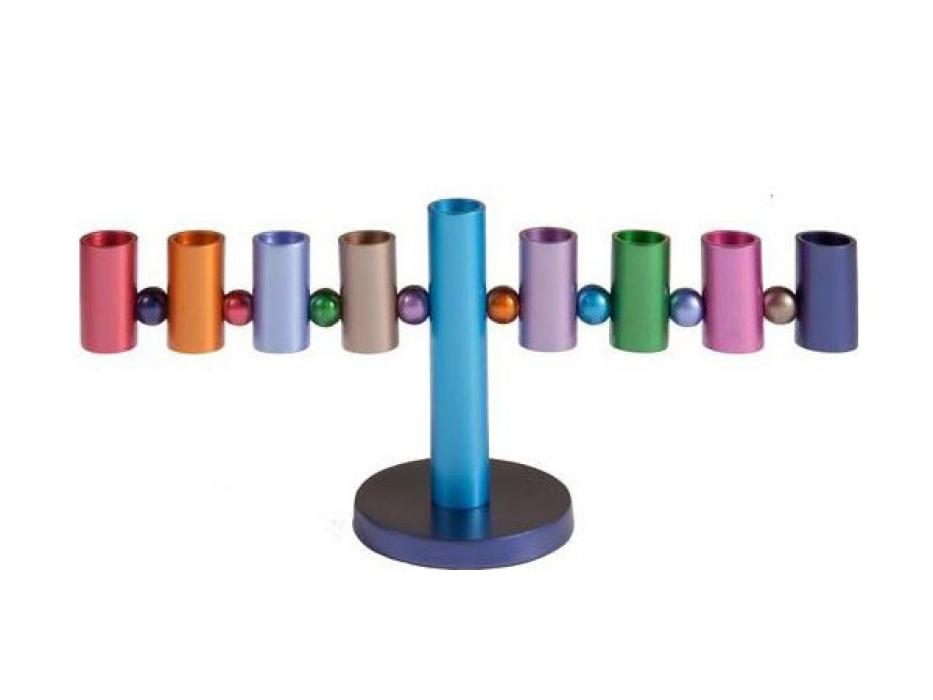 Aluminum Menorah Colorful Cylinders Design by Yair Emanuel