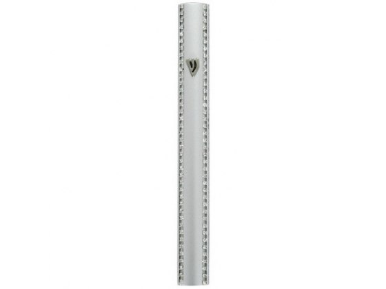 Aluminum Silver Colored Mezuzah Case with Metal Shin and Chain Decorations