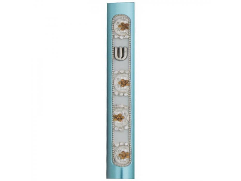 Alumnum Mezuzah Turquoise with White Decoraton Stripe Set with Stones