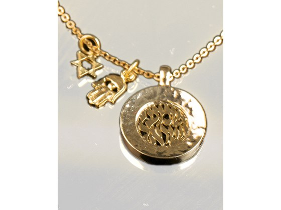 Gold Plated Shema Yisrael Pendant Necklace - Anava Jewelry