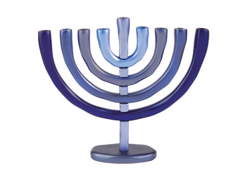 Yair Emanuel Anodized-Aluminum Hanukkah Menorah - Blue