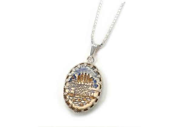 Handmade Silver and Ceramic Jerusalem Necklace with 24k Gold