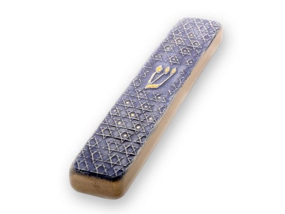Ceramic and Gold Mezuzah with Blue Star of David by Art in Clay