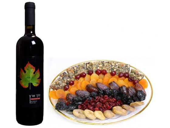 Assorted Dried Fruits and Wine , Gift Basket