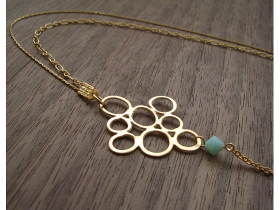 Asymmetrical Bubbles Necklace in Gold - Shlomit Ofir Jewelry