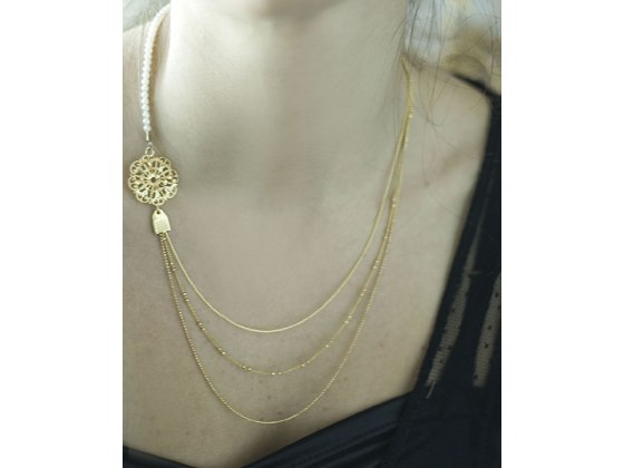 Asymmetrical Pearl and Filigree Necklace - Shlomit Ofir Jewelry