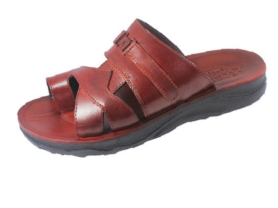 Attractive Pair of Slip -on Leather Sandals - Boaz