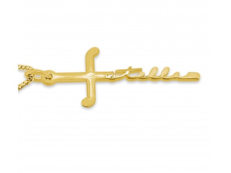 14K Gold Cross Cursive Name Necklace