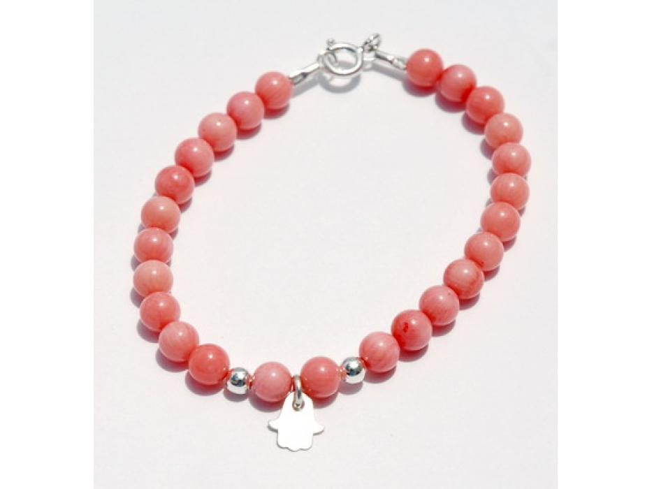 Coral Beads Kabbalah Bracelet, Hamsa Pendant accent