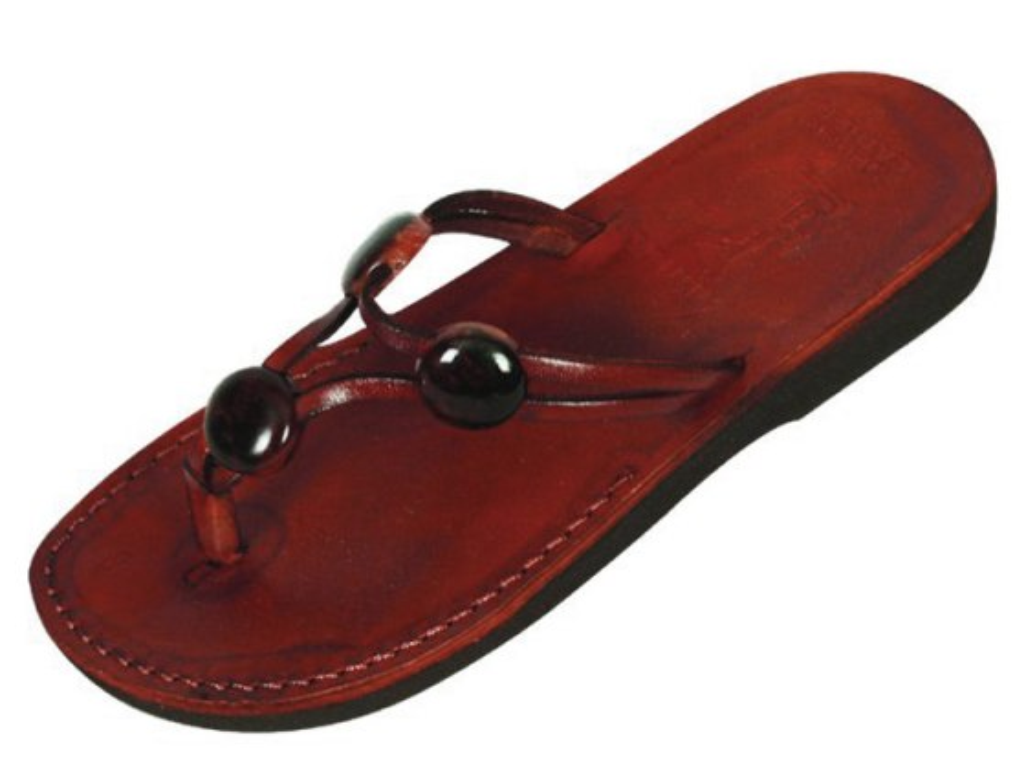 Beaded Y-Strap Leather Flip-flop Biblical Sandals - Miriam