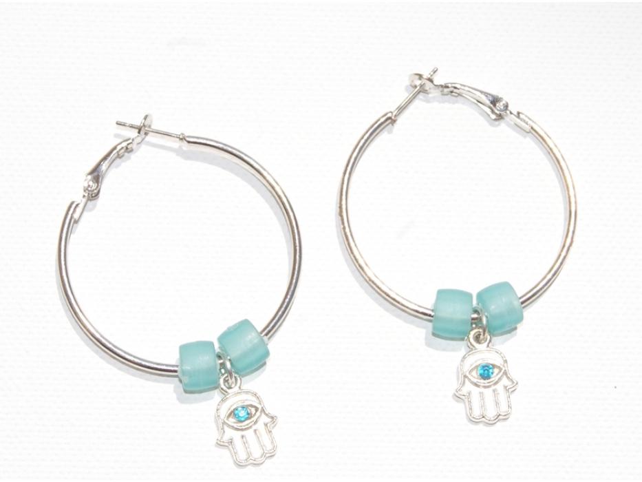 A Beautiful Pair of Silver Hamsa Earrings