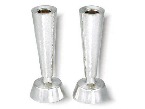 Belted Sterling Silver Shabbat Candlesticks with Hammered Texture