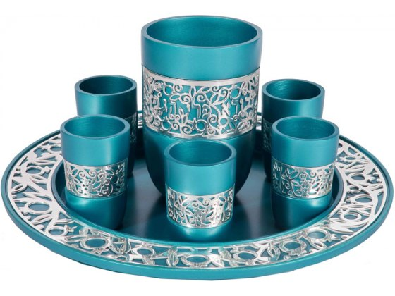 Big Kiddush Cup and 6 Small Turquoise Cutout Yair Emanuel