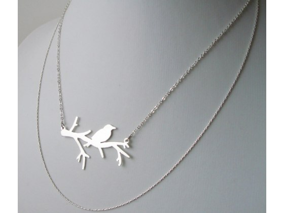 Bird on Branch Necklace in Silver or Gold - Shlomit Ofir