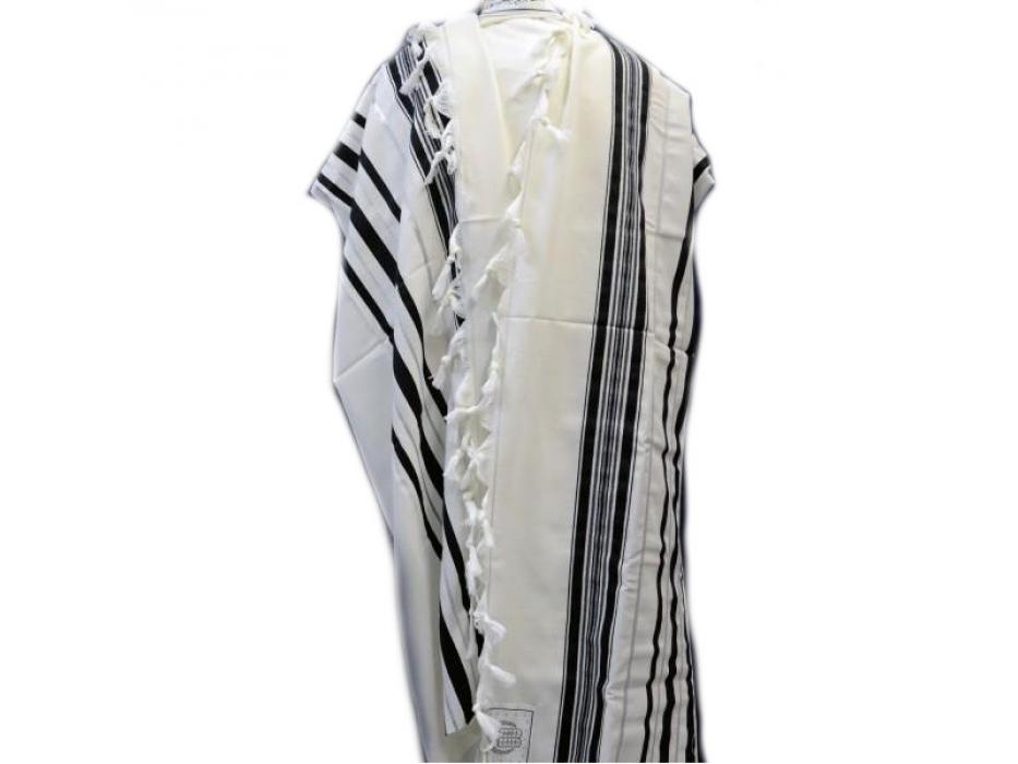Black and Gold Stripes Prima AA Wool Tallit Prayer Shawl