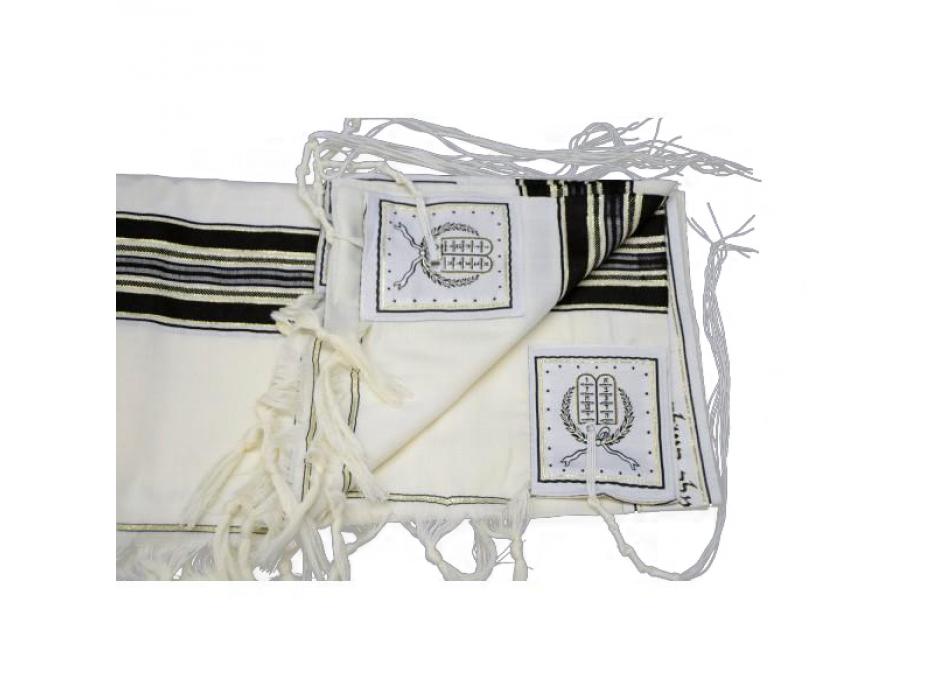 Black and Gold Stripes Prima AA Wool , Tallit Prayer Shawl