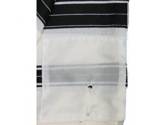 Black Striped Lightweight Wool Chabbad Tallit Prayer Shawl
