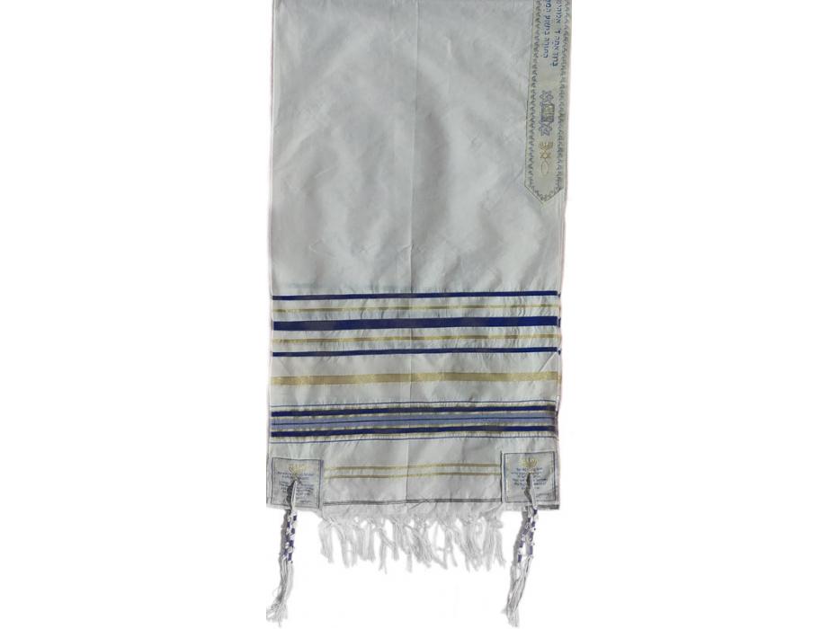 "Buy Blue And Gold Christian Prayer Shawl (64"" X 43"