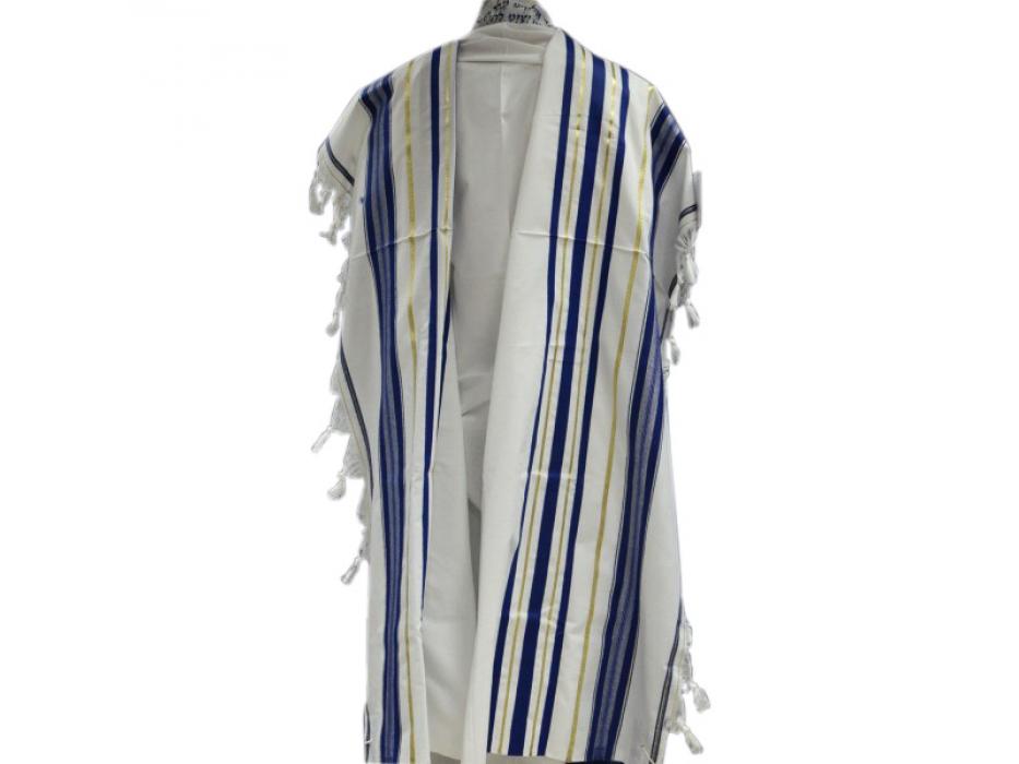 Blue and Gold Stripes Acrylic , Tallit Prayer Shawl
