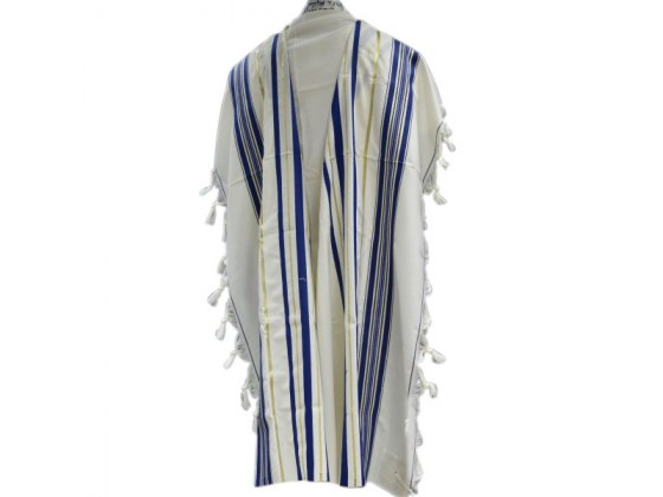 Blue and Gold Stripes Prima AA Wool , Tallit Prayer Shawl