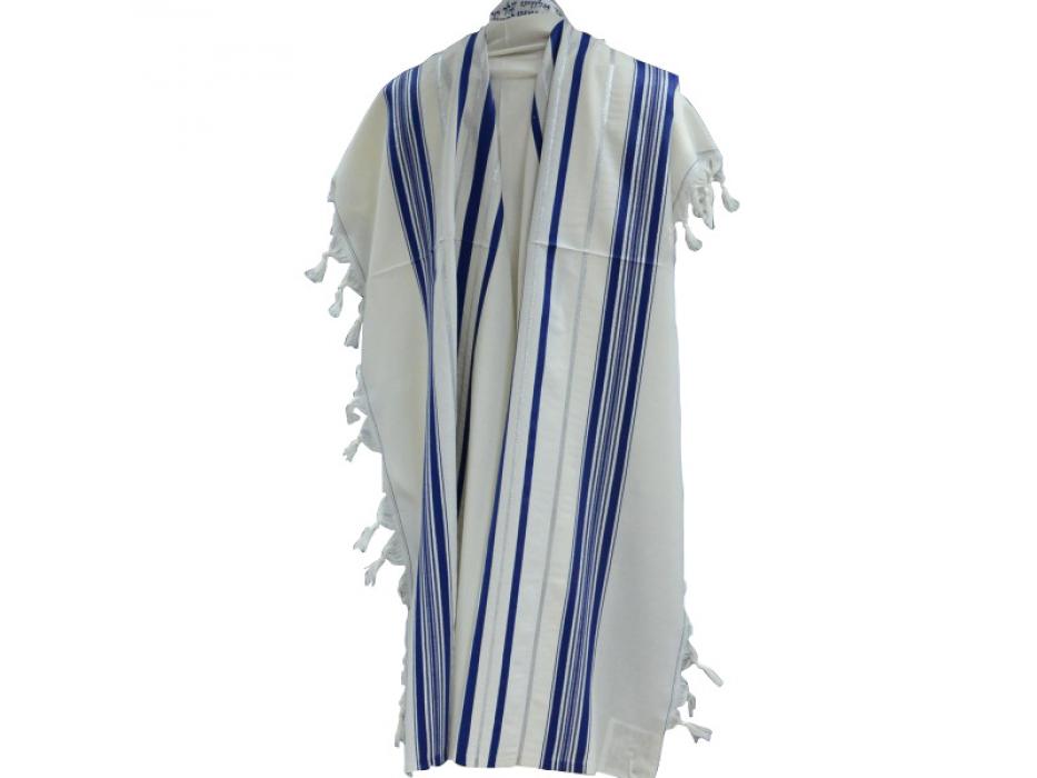 Blue and Silver Stripes Prima AA Wool, Tallit Prayer Shawl