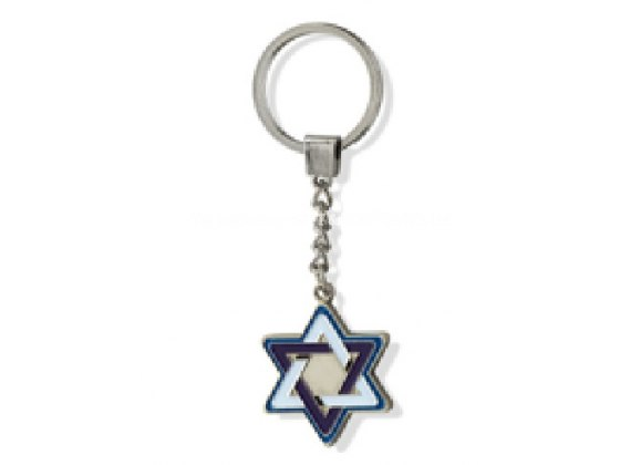 Blue and White Star of David, Israel Keychains
