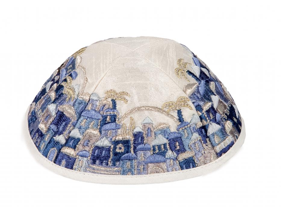 Blue Embroidered Jerusalem Yair Emanuel Tallit Prayer Shawl
