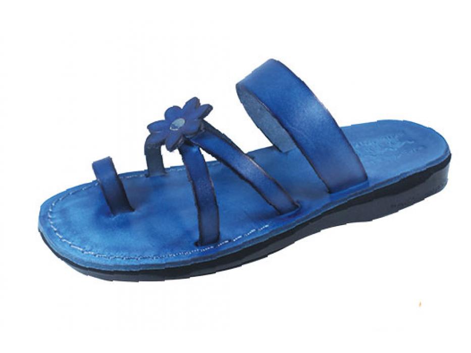 Blue Flower Toe Strap Israeli Handmade Leather Sandals