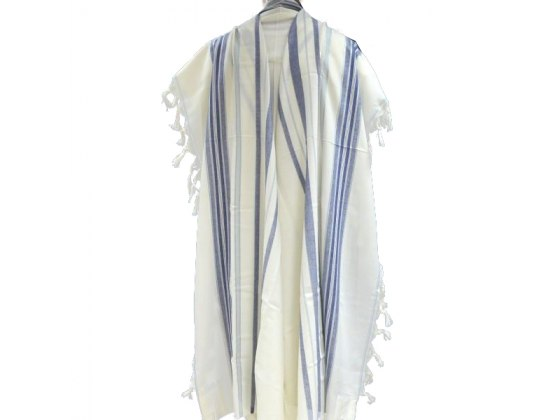 Blue Light blue and Silver Striped Bareket Wool Tallit Prayer Shawl