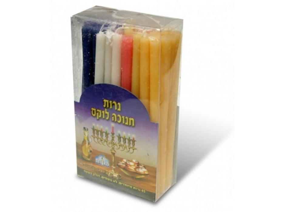 Blue Shamash and White 8 Star of David Line Hanukkah Menorah