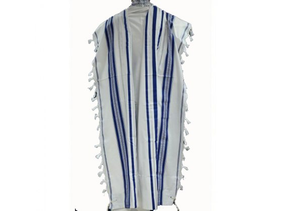 Blue Silver Acrylic Mishkan Hatchelet Tallit Prayer Shawl