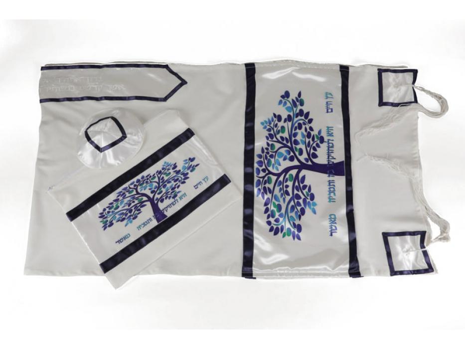 Blue Tree of Life on White Viskosa Tallit