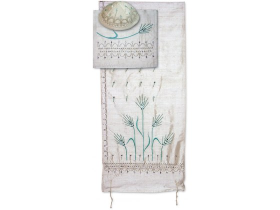 Blue Wheat Sheaves White Silk Tallit by Rikmat Elimelech