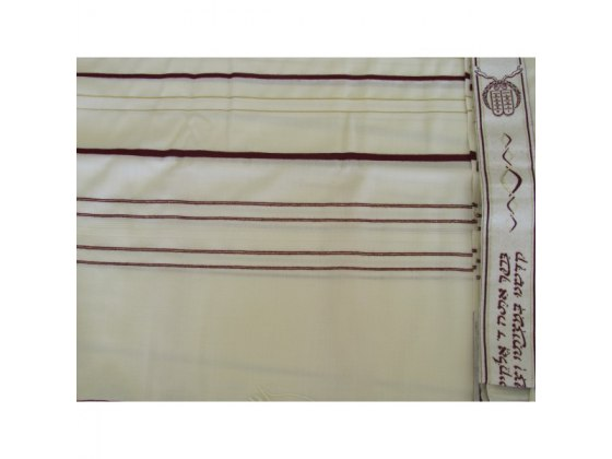 Bordeaux and Gold Stripes Wool, Tallit Prayer Shawl (47.2x67 inch)