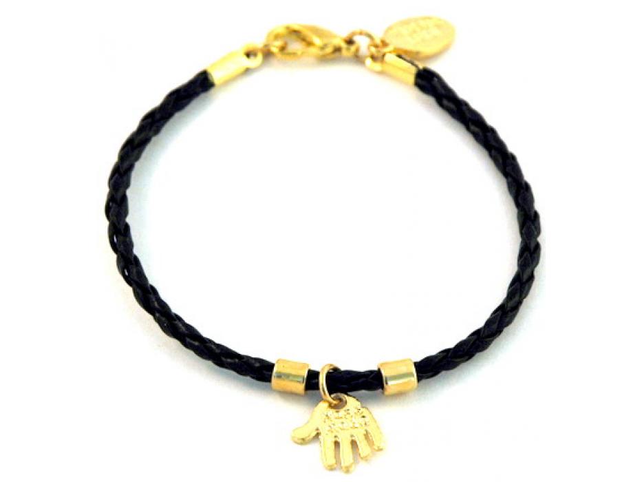 Black Kabbalah Bracelet , Gold Hamsa pendant