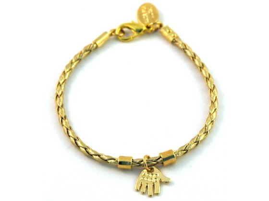 Gold Kabbalah Bracelet with Hamsa pendant