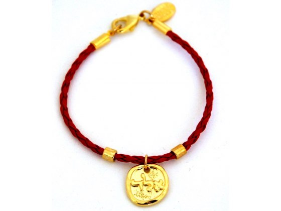 Braided Leather Red String Bracelet with Gold Kabbalah pendant