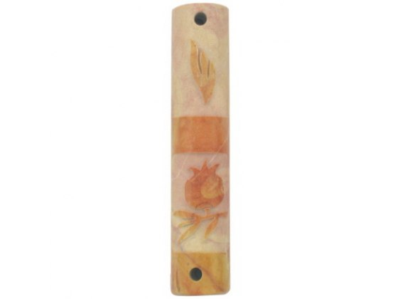 Bright Marble Mezuzah Case with Pomegranate and Shin