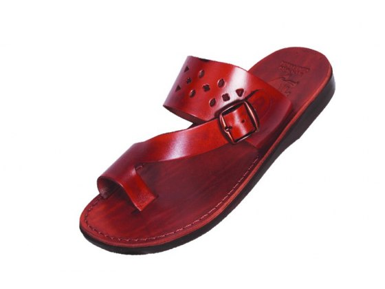 Leather and Bucklen Flip-Flop Sandals - Aharon
