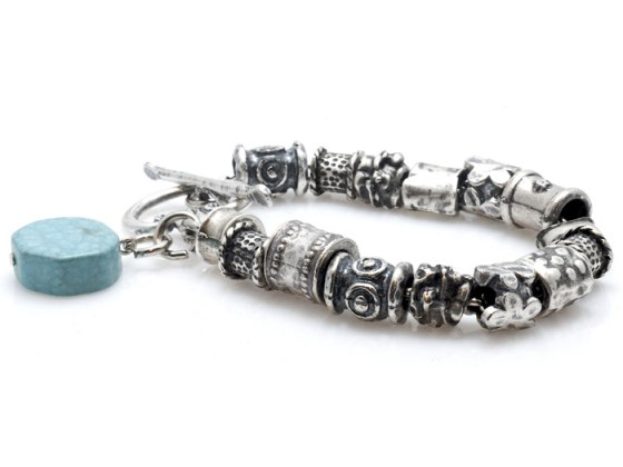 Carved Silver Beads and Turquoise Charm Bracelet - Anava Jewelry