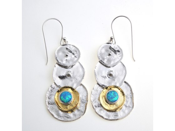 Cascading Silver and Plated Gold Disc Earrings with Opal Accent by Idit Jewelry
