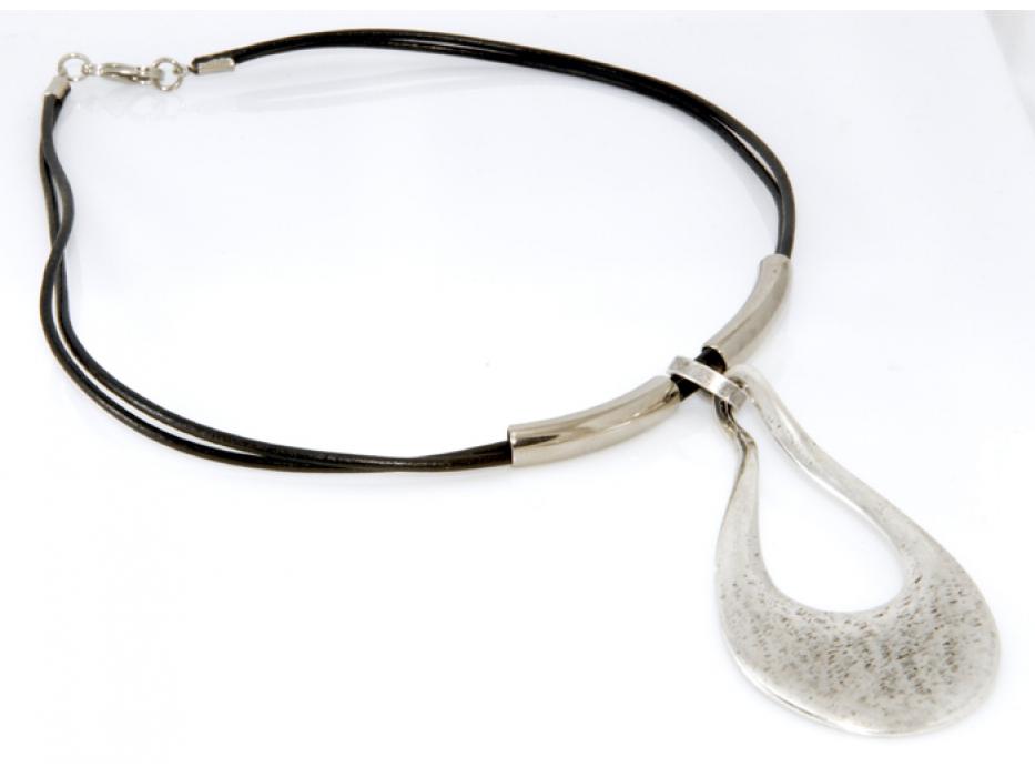 Casual Israeli Necklace: Large Silver Teardrop Pendant - Anava Jewelry