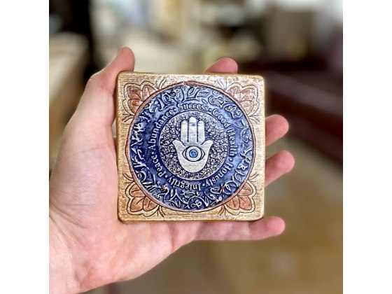 Handmade Blessings Hamsa Square Plaque by Art in Clay